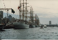 Tall ships in Darling Harbour - January 1988 (Sandbunny2010) Tags: 1988 bicentennialcelebrations darlingharbour tallships sydney1988 guayas ecuadortallshipguayas