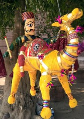 Hanging in there (shuchismita_) Tags: wood travel india man puppet fort camel cloth rajasthan