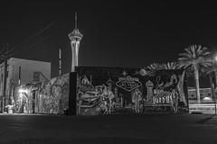 Untitled (lv_los) Tags: nightphotography blackandwhite monochrome night nikon neon cityscape lasvegas nevada sincity stratosphere downtownlasvegas lasvegasblvd nikonphotography dtlv nikond7100