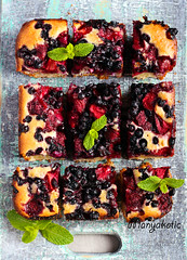 Berry coconut and lime cake, sliced on board (manyakotic) Tags: bake bars bilberry blackberry blueberry breakfast brunch cake coconut dessert food homemade slices snack strawberry sweet top traybake treat view whortleberry