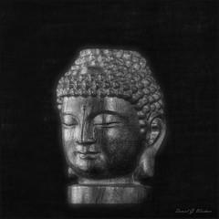 Duhkha (danielgweidner) Tags: blackwhite buddha buddhist eos5d macro painting photoart monochromatic stilllife