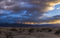 Death Valley storm (Fred Moore 1947) Tags: california sky storm clouds sunrise landscape us unitedstates desert deathvalley mesquiteflatdunes