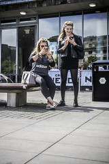 Photo or text (tootdood) Tags: street people mobile manchester photo sitting phone text cell piccadilly sit sat seated fromthehip streetcandid canon70d