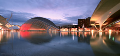 Ciudad de las Artes y las Ciencias - Valncia, Spain (Andrea Moscato) Tags: andreamoscato europe night notte notturno architecture architettura architect architetto arco arte art building structure reflection water acqua riflesso dark light shadow city citt community valencian valenciana iberian cultural architectural complex santiago calatrava view vista vivid blue red yellow hemisfric umbracle palau sunset dusk tramonto sera evening bridge