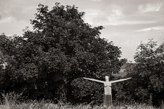 Bring me sunshine... (AJFpicturestore) Tags: terencecoventry sculpture sculpturepark coverack thelizard cornwall southwestcoastalpath monochrome blackwhite bw alanfoster bringmesunshine openarms bringiton