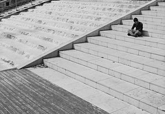 Meditate (joshuacolephoto) Tags: street streetphotography bnw bw blackandwhite noir film 135 contrast 35mm nikon fe2 ilford xp2 400 bristol uk alone people individual candid space lines negativespace room city citycentre walk follow work love