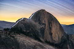 A Night Hike up the Half Dome Cables (geekyrocketguy) Tags: yosemite nationalpark halfdome night stars startrails star longexposure cables cable hike light lights sony zeiss 100 milvus a7r backpack backpacking camp camping