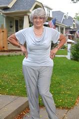 """Hey! My Eyes Are Up Here!"" (Laurette Victoria) Tags: woman laurette pants gray sidewalk figure"