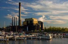 Michigan City Harbor 9-12-2016 8609 (www.cemillerphotography.com) Tags: lakefront lakemichigan sundown dusk nightfall washingtonpark recreation megawatt energy emissions indiana factory smokestack smoke