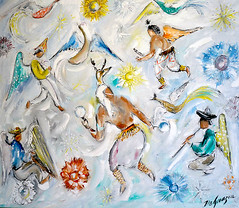 """""""All Yaquis in Heaven"""", oil on canvas, 1967. (DeGrazia Gallery in the Sun) Tags: arizona sun ted art architecture easter artist gallery dancers desert tucson paintings ceremony knife az deer adobe oil palette degrazia catalinas yaqui ettore nationalhistoricdistrict pascola"""