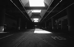 162 (OldAreEx78) Tags: city bridge light white black film lines architecture contrast 35mm la los nikon downtown angeles grain overpass freeway hp5 ilford leading dtla bnw urbanscape f3hp
