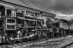 46447 and 41313 are posed outside Cranmore Engine Shed (Doddle Bug) Tags: 2 heritage train engine railway loco somerset steam east locomotive preserved mallet esr 262 260 cranmore 262t shepton ivatt 41313 46447 2mt