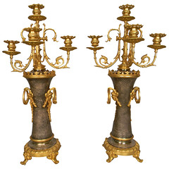 Early 20th Century Bronze Candelabras (thehighboy) Tags: lighting bronze miami antiques collectibles decorativearts highboy candelabras decorativeaccessories