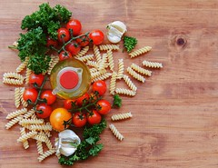 pasta, herbs, oil, tomatoes and on a wooden (WildDrago) Tags: wood pink red people food cold color green nature yellow horizontal closeup cheese tomato circle out studio pepper photography leaf italian raw cross shot drink no beef traditional olive ham vegetable pasta stack meat pork steak snack cutting oil basil onion folded parma portion section herb cuts isolated prosciutto garnish themes veal alternatives fillet