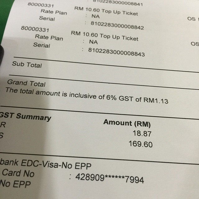 In Malaysia GST is adapted from today. And then I have to pay more 6% amount. ㅠㅠ