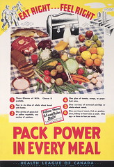 Eat right ... feel right (Toronto Public Library Special Collections) Tags: food fish vegetables fruit bread milk workers factory plate meat worldwarii lunchbox tablecloth cutlery nutrition healthleagueofcanadanutritioncommittee recommendeddailyservings