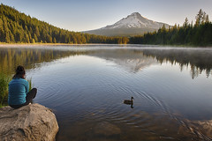 Let us have peace… (ferpectshotz) Tags: morning woman oregon sunrise reflections portland peace ducks calm human mthood trilliumlake