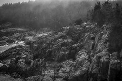 fog, headlands, late day, Monhegan, Maine, Nikon D40, prime lens, Tonality Pro, 5.21.14 (steve aimone) Tags: blackandwhite monochrome fog rocks maine shoreline rocky monochromatic cliffs headlands monhegan monheganisland primelens nikond40
