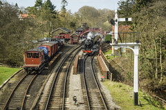 Waiting for the Off at Goathland Station. (david newbegin) Tags: northyorkshire goathland lms nymr northyorkshiremoorsrailway northyorkshiremoors goathlandstation 44871 blackfives