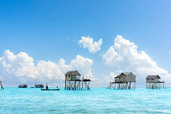 bajau floating village (sydeen) Tags: wood travel blue sea sky cloud house home nature water rural landscape asian island boat wooden asia village outdoor traditional poor culture floating malaysia borneo tropical gypsy sabah semporna bajau