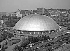 Civic Arena a.k.a. Mellon Arena a.k.a. The Igloo - Old Home Of The Pittsburgh Penguins NHL Hockey Team - Black & White Version; Pittsburgh, PA (hogophotoNY) Tags: from above city bw usa hockey sport canon nhl penguins us blackwhite pittsburgh unitedstates pennsylvania arena pa pitt demolished yinz canondigital pittsburghpenguins pittsburghpennsylvania