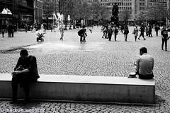 The Bench (MarkusGW) Tags: people bw fountain bench season spring flickr hessen place frankfurt jahreszeit internet streetphotography publication frühling personen flickrcom remark wwwflickrcom