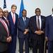 Secretary Kerry Stands with President Hassan Sheikh Mohamud, Prime Minister Omar Abdirashid Ali Sharmarke, and Three Regional Leaders in Somalia