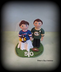 Sports Theme Wedding Cake Topper (Trina's Clay Creations) Tags: wedding sports football buffalobills anniversary packers polymerclay gift greenbay caketopper topper personalized brideandgroom 50yardline groomscake clayfigure weddingcaketopper customcaketopper claycaketopper trinaprenzi trinasclaycreations