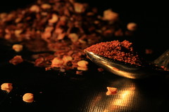 Hot and spicy (alideniese) Tags: red hot macro reflection closeup blackbackground chili dof bokeh spice spicy chilli chilipowder chillipowder chiliflakes chilliflakes