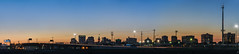 sunset over a downtown silhouette (pbo31) Tags: oakland california eastbay alamedacounty bayarea nikon d810 color july 2016 summer boury pbo31 urban black blue downtown city silhouette orange sky skyline sunset clintonbasin 880 overpass lightstream traffic ramp panoramic large stitched panorama