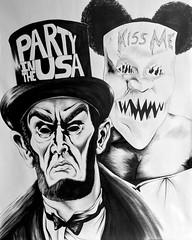 """The Purge: Election Year"" (DJCHOP47) Tags: danielbarnard chop47 kissme partyintheusa masks sketch drawing poster portriat ink pen penandink blackandwhite highcontrast popart art fan fanart bettygabriel josephjuliansoria mykeltiwilliamson frankgrillo elizabethmitchell nathanwhitehead jamesdemonaco thriller suspense horror horrormovie 2016 electionyear thepurgeelectionyear purge thepurge"