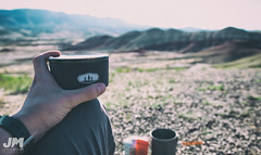 Coffee Time (awdftw!) Tags: painted hills adventure outdoors hiking eastern oregon explore fence wide angle landscapes landscape colors sunrise sun warm vibrant color canon sigma 7dmkii jaren morris photography production coffee breakfast break rest gsi gear depth field