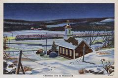 Christmas Eve in Mononland (Joe Geronimo) Tags: christmas postcard monon railroad train church santaclaus tree gifts presents travel family food wine beer usa america europe sleigh newyear holiday newyork indiana