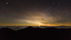 Haleakala Moonrise (hawaiiansupaman) Tags: haleakala moon clouds cloudynightsky nightphotography nightsky