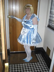 CIMG6767 (sissybarbie1066) Tags: baby satin sissy maid uniform blue answering front door plumping cushion sissymaid