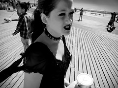 on boardwalk (-{ ThusOriginal }-) Tags: bw blackandwhite child digital grd3 grdiii monochrome newyork nyc people ricoh spring thusihaveseen thusoriginal city
