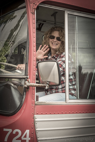 Simone in the Vintage Bus