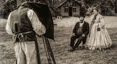 Abe and Mary (Wes Iversen) Tags: abrahamlincoln civilwardays htt marytoddlincoln michigan nikkor18300mm portsanilac texturaltuesday blackandwhite cabins hats men monochrome people photographers reenactments reenactors texture textures tophats vintage women