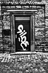 (formwandlah) Tags: kaiserslautern street art death life dream imagination dark strange urban noir gloomy sureal bizarr skurril abstrakt abstract melancholic melancholisch bw blackwhite black white sw monochrom high contrast formwandlah thorsten prinz poetry graffiti einfarbig ricoh gr pentax lost place urbex text