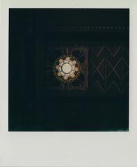 Chandelier (DavidVonk) Tags: vintage instant analog film polaroid slr680 durhammuseum train station artdeco architecture chandelier lamp ceiling fixture sign union omaha radial symmetry
