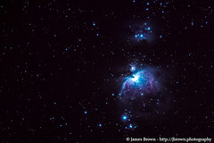 The Orion Nebula (M42) & The Running Man Nebula (NGC 1973/5/7) (J. Brown Photography) Tags: brown stars photography james photo sony nebula astrophotography orion m42 alpha
