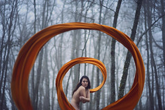 The Embrace (Marina Gondra) Tags: woman selfportrait yellow fog forest naked nude mujer alone loneliness foggy amarillo bosque soledad embrace autorretrato niebla abrazo desnuda