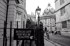 Bicycles Left Here (Josieroo13) Tags: blackandwhite history students bike architecture landscape structure oxford historical academia radcliffecamera academic mononchrome