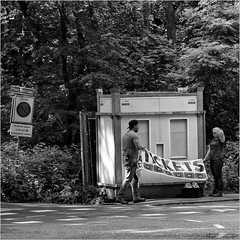 Do we have a Plan-B? (John Riper) Tags: road street trees people bw white black netherlands monochrome sign canon john square tickets photography mono stand rotterdam zwartwit candid banner l bos 6d 24105 kralingse straatfotografie riper johnriper photingo