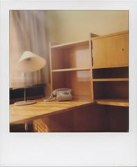I specialise in revenge (Stasi 3) (ale2000) Tags: lamp analog office chair telephone 600 instant analogue telefono lampshade tavolo ufficio scrivania shelves paranoia stasi impossible i1 instantphotography poltrona analogico scaffali stasimuseum stasizentrale