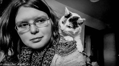 Emilia and me (Bernsteindrache7) Tags: cat animal human indoor katze black white
