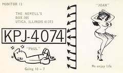 The Newells - Utica, Illinois (73sand88s by Cardboard America) Tags: qslcard qsl cb cbradio vintage postcard boxing nudity dancer illinois