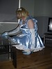 CIMG6795 (sissybarbie1066) Tags: baby satin sissy maid uniform blue cleaning glass coffee table with vinegar water sissymaid