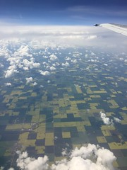 Patchwork 1 (sanford reflexion) Tags: white canada green clouds plane airplane airport flight alberta planes crops prairie plains reddeer