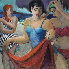 Time To Go (mariefox) Tags: figure women beach threegraces ocean stormyweather abstractfiguration